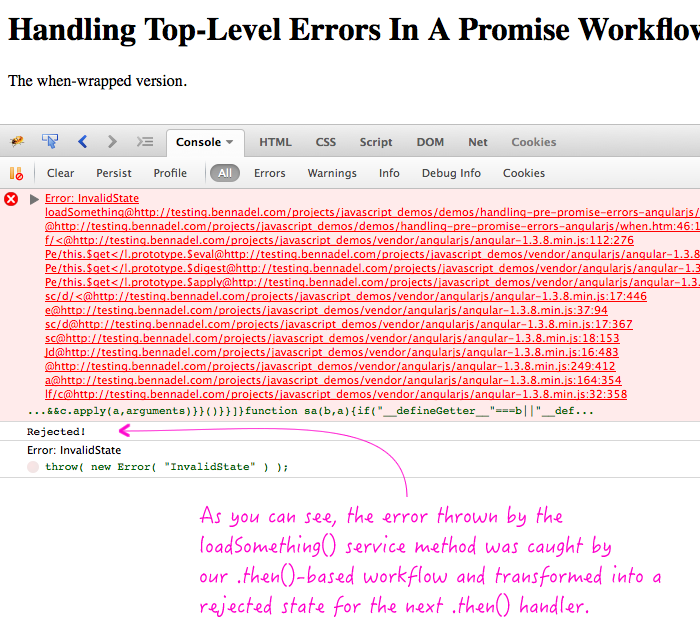 Handling top-level errors in a promise-based workflow in AngularJS.
