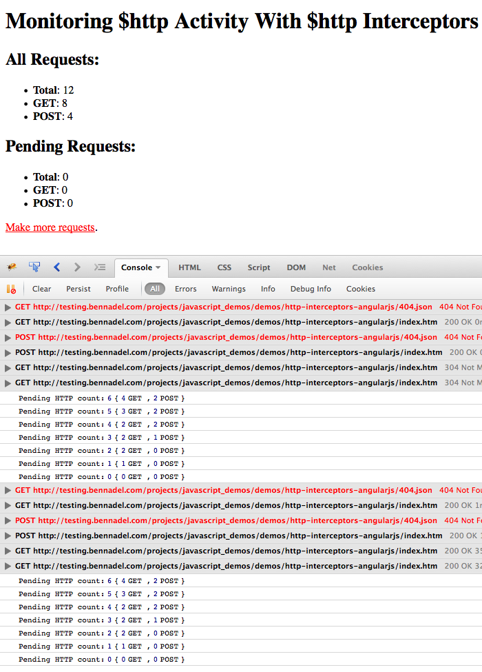 $http activity intercepted by trafficCop, tracking all outgoing, incoming, and pending http requests.
