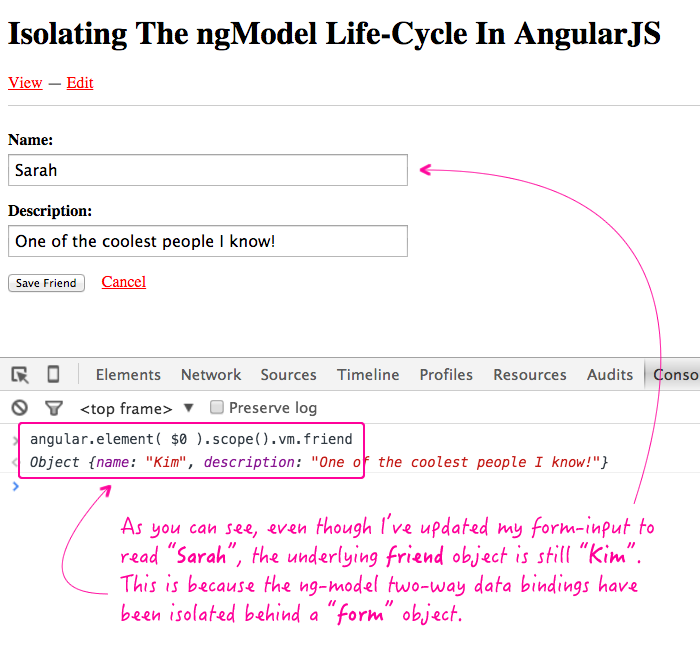 Isolating the ng-model two-way data binding life-cycle behind a form object in AngularJS.