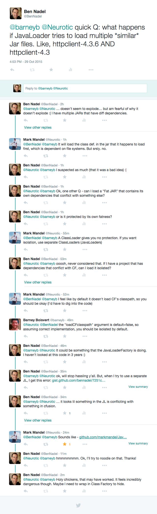 JavaLoader tweet conversation with Mark Mandel and Barney Boisvert.