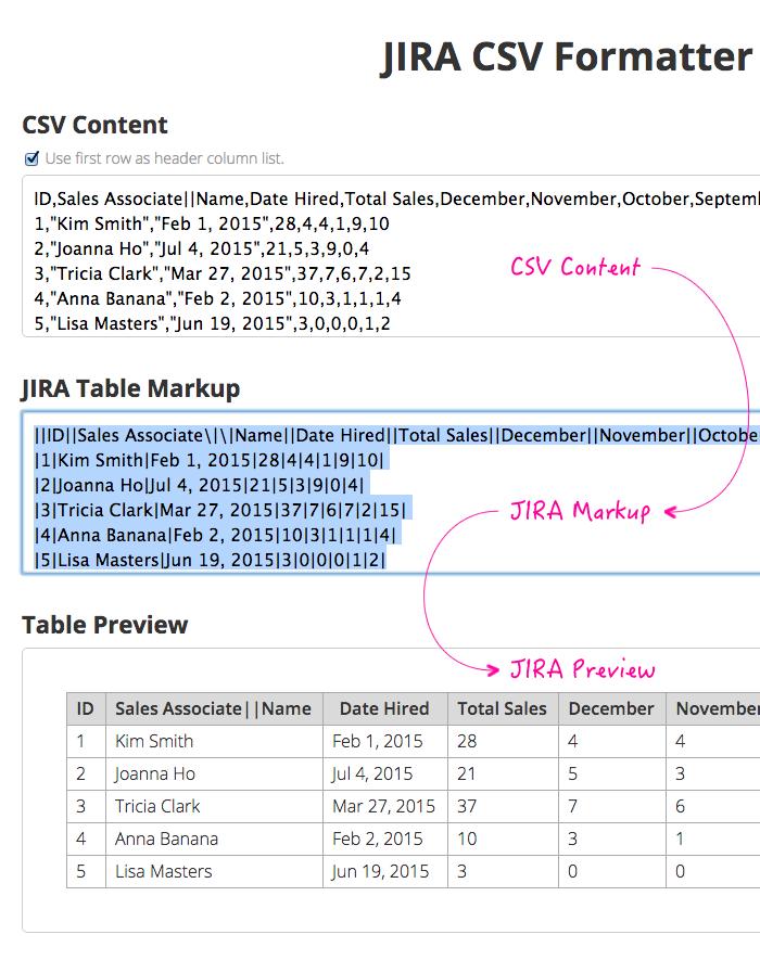 Formatting JIRA csv tables using AngularJS and Plupload.