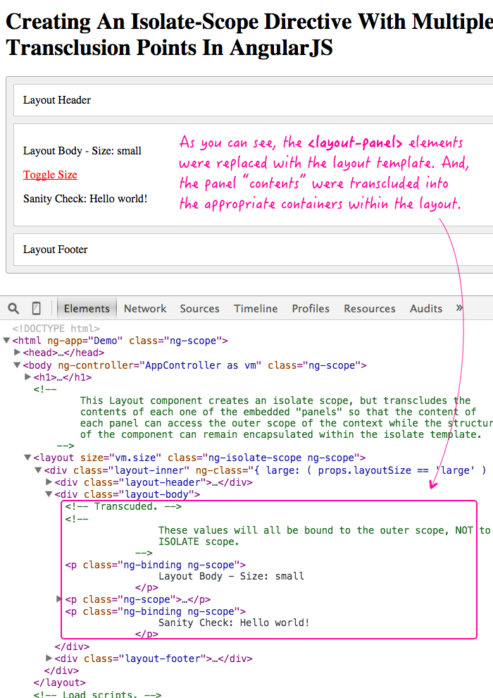 Using multiple points of transclusion in an isolate-scope directive in AngularJS.