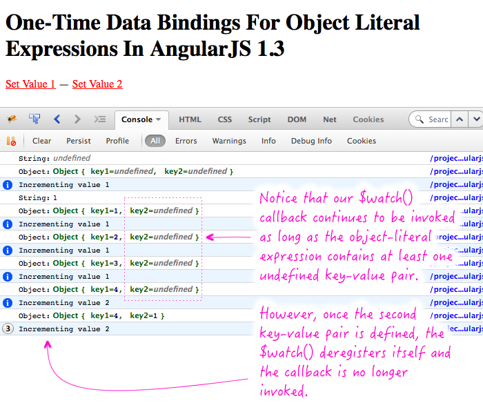 Using one-time data bindings with object literal expressions in AngularJS 1.3.