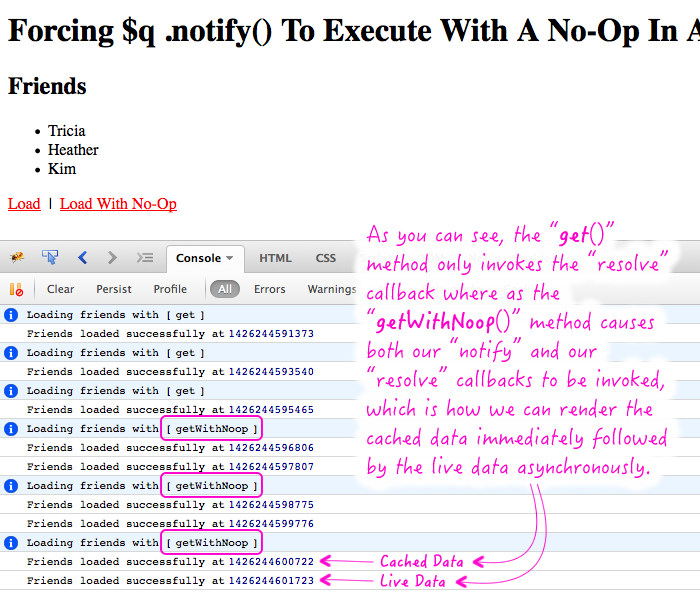 Forcing $q to invoke the notify callback queue by binding a no-op (no operation) function.