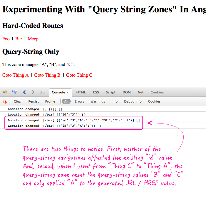 Query string links that only affect a subset of the location in AngularJS.