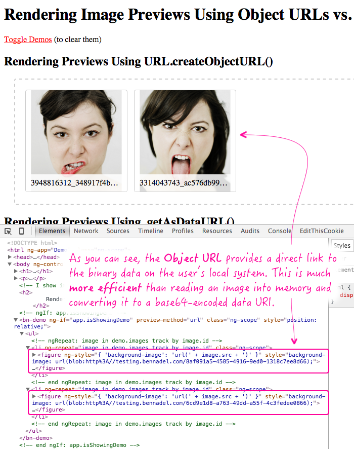 Rendering client-side image previews using object URLs and base64 data URIs.