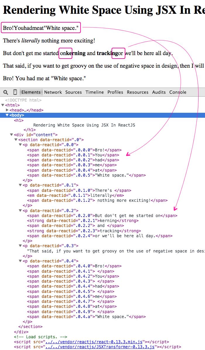 Rendering white space using JSX in ReactJS.