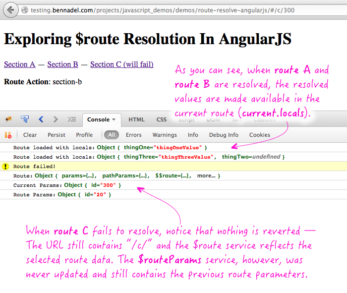 Exploring route resolution in AngularJS and how the $route service is updated upon failure.
