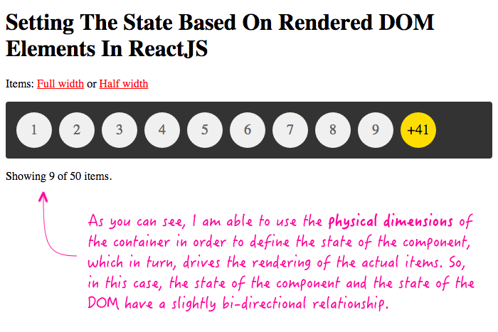 Setting state based on the dimensions of the DOM makes the component state and the DOM state more bi-directional.
