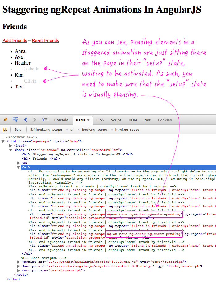 Stagging ngRepeat animations in AngularJS put the cloned elements in a pending state, but don't delay the linking phase.
