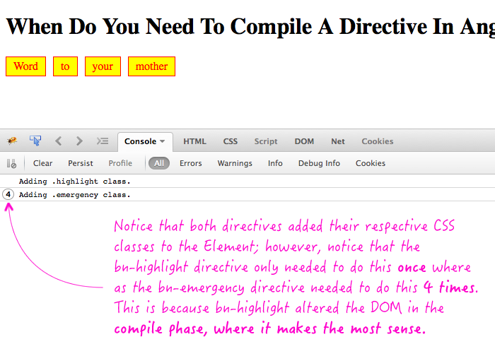 Why do you need to compile a directive - CSS class example.