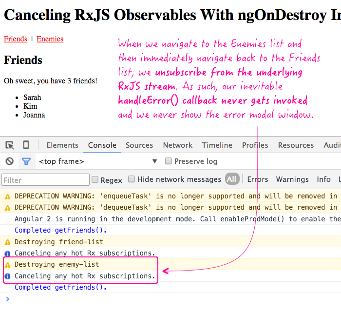 Canceling an RxJS observable stream using ngOnDestroy in Angular 2 Beta 6.