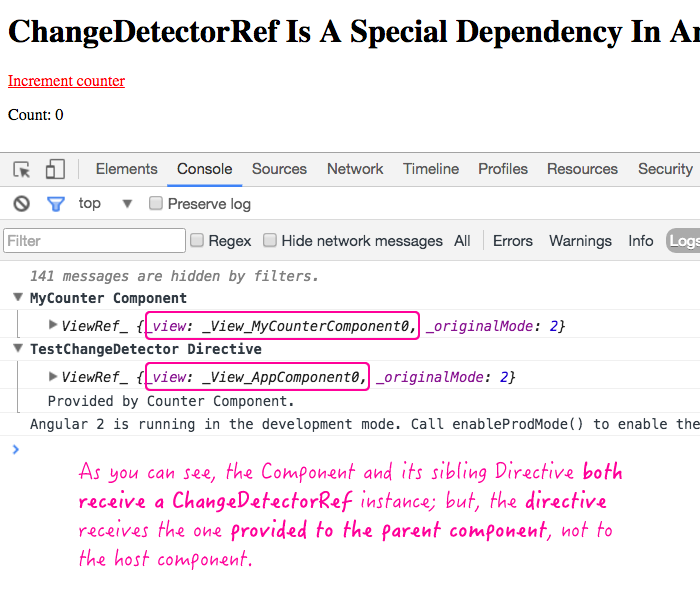 ChangeDetectorRef dependency is a special dependency in Angular 2 RC 3.