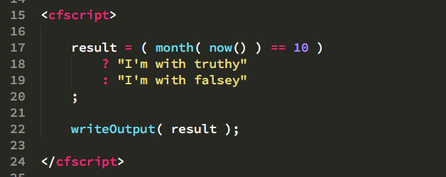 Conditional ternary operator format in languages like ColdFusion and JavaScript.