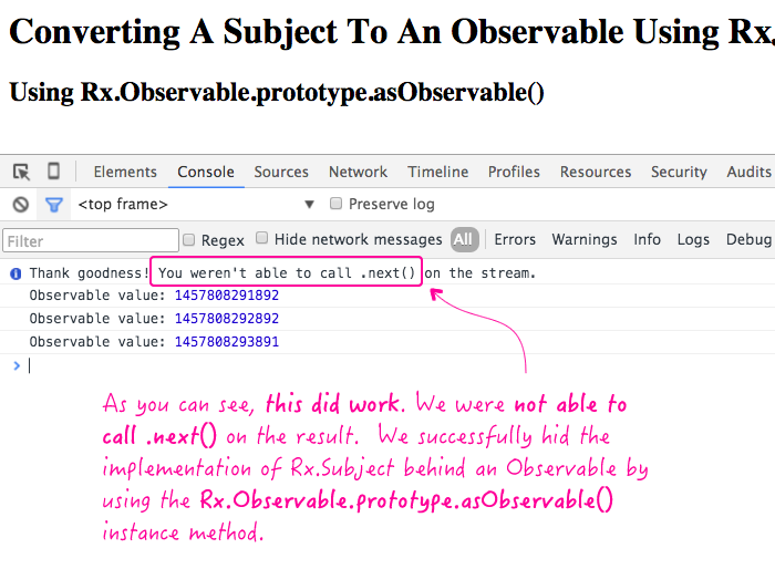 Converting an RxJS Subject to an Observable sequence.