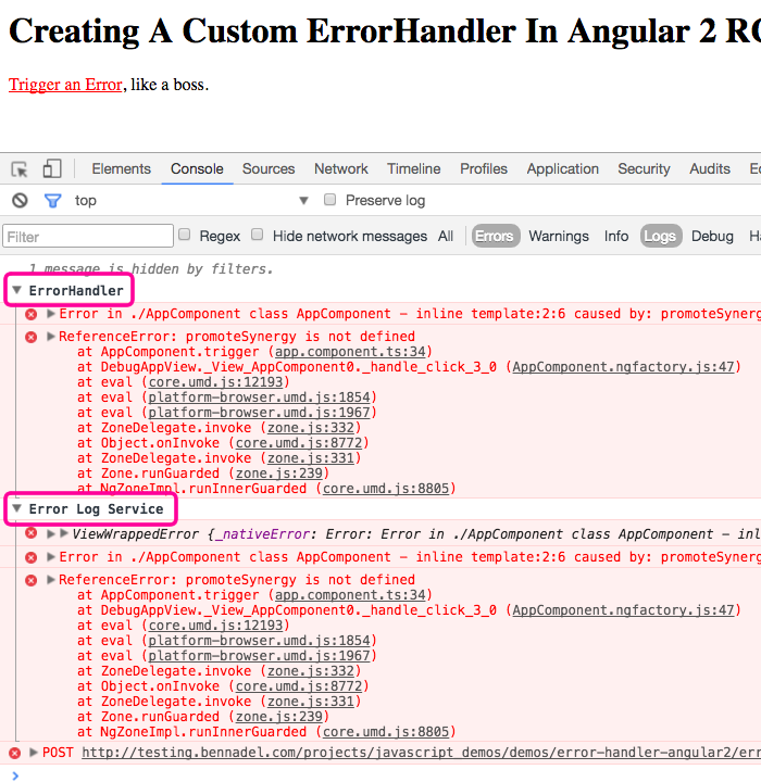 Custom ErrorHandler implementation in Angular 2 RC 6.
