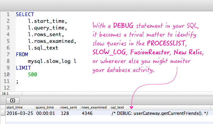 Adding DEBUG comments to your SQL significantly helps debugging performance problems.