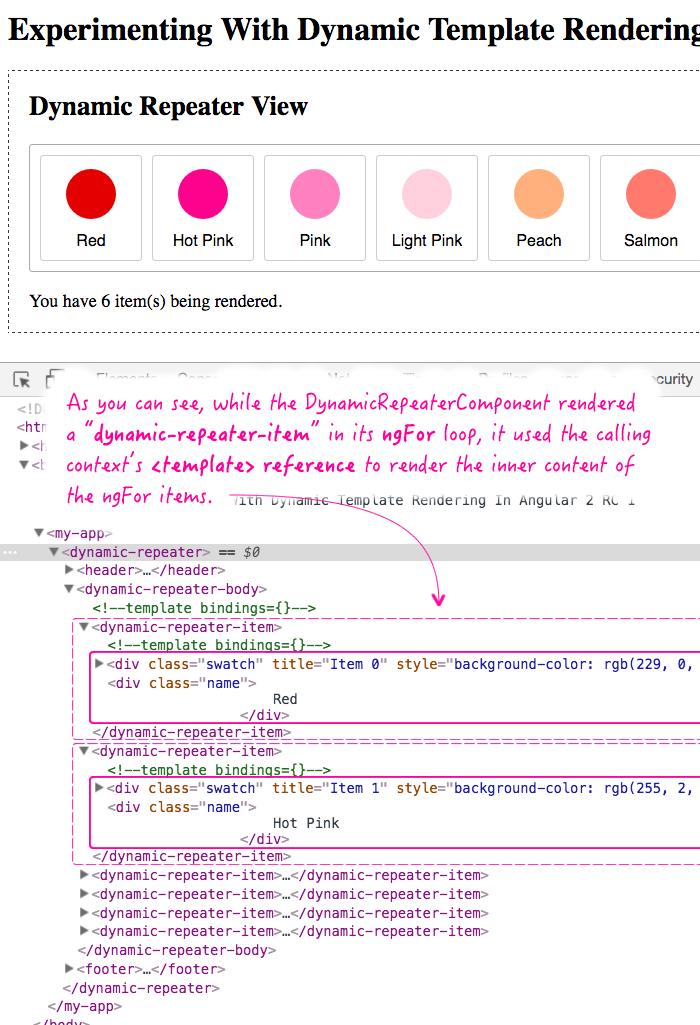 Dynamic template rendering using Angular 2 RC 1.