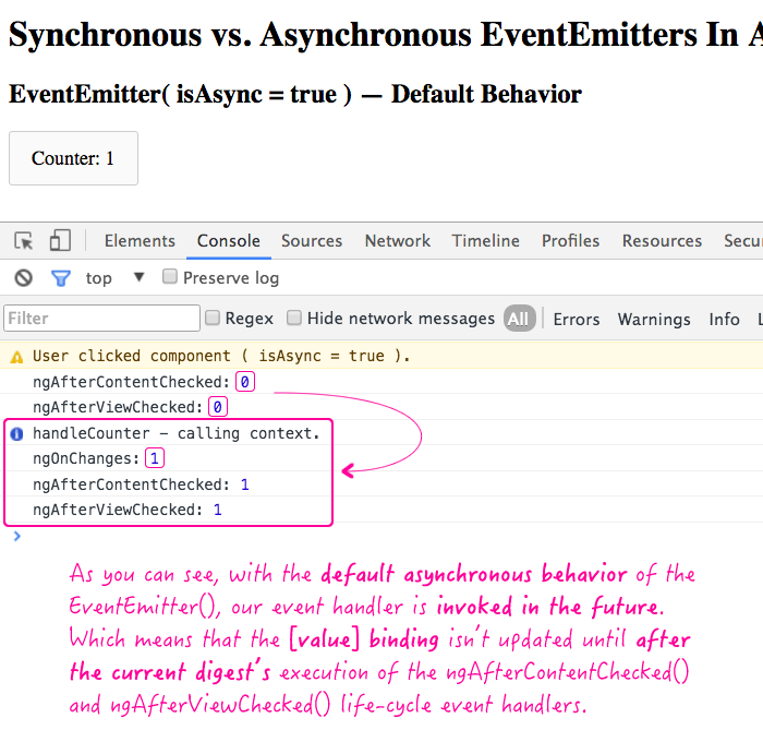 Asynchronous EventEmitter in Angular 2 Beta 14.