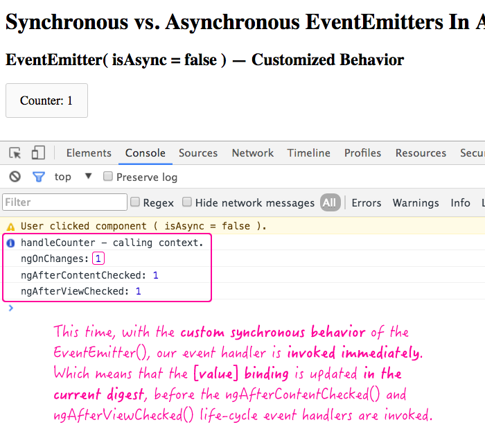 Synchronous EventEmitter in Angular 2 Beta 14.