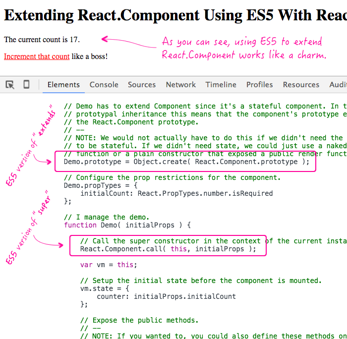 Extending React.Component using ES5 with React 0.14.7.