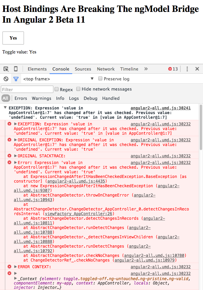 Host bindings, that depend on input values, break the ngModel bridge in Angular 2 Beta 11.