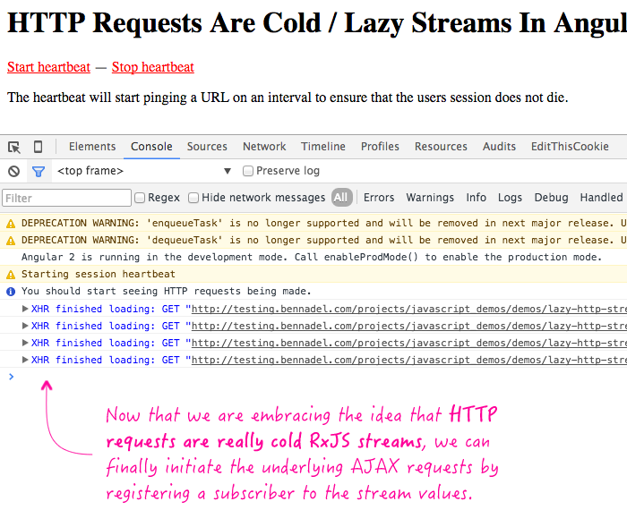 HTTP requests are implemented as cold / lazy RxJS streams in Angular 2.