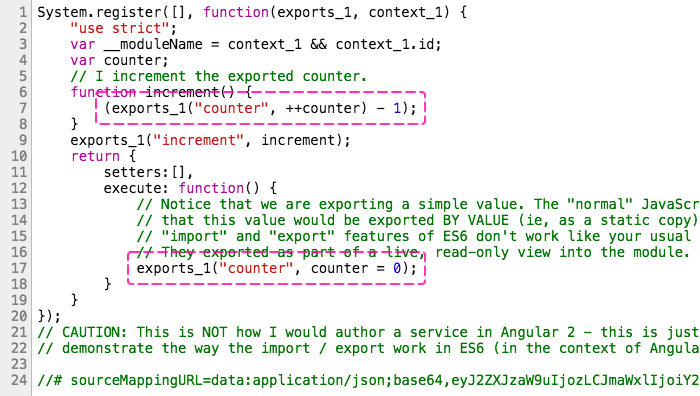 Looking at the ES5 transpiled export statement.