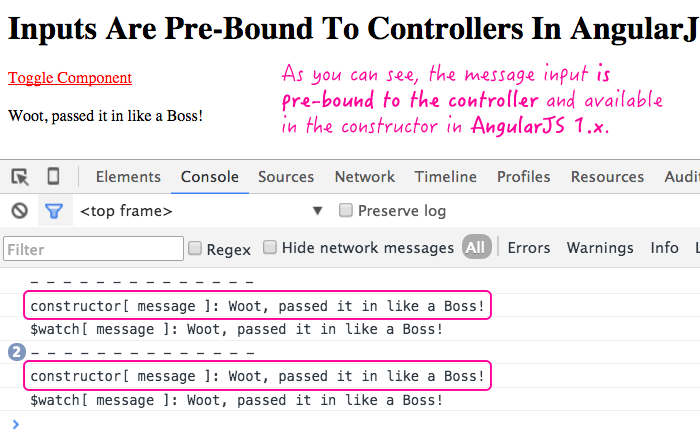 Inputs are pre-bound to component controllers in AngularJS 1.x.