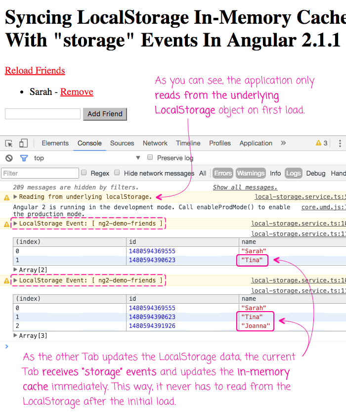 Syncing LocalStorage with cache using