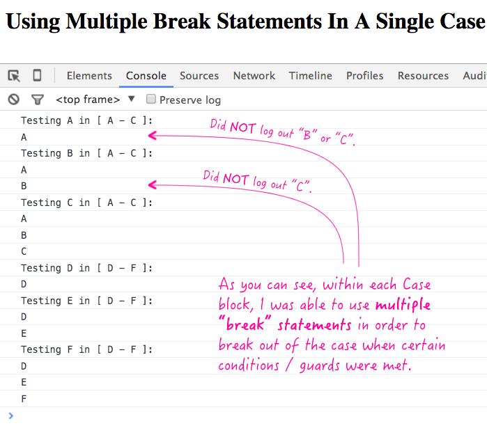 Using multiple break statements inside a single case block in JavaScript.