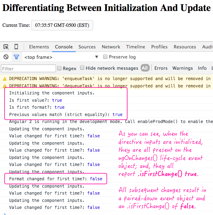 Differentiating between initialization and update in the ngOnChanges() directive life-cycle event handler.