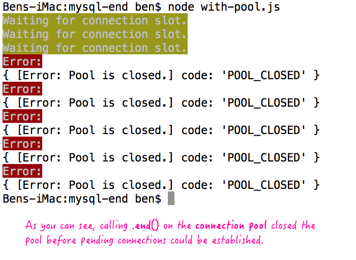 Call .end() on the node.js MySQL driver connection pool object.