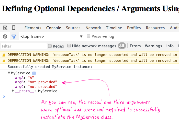 Optional dependency-injection arguments using ES5 and Angular 2.