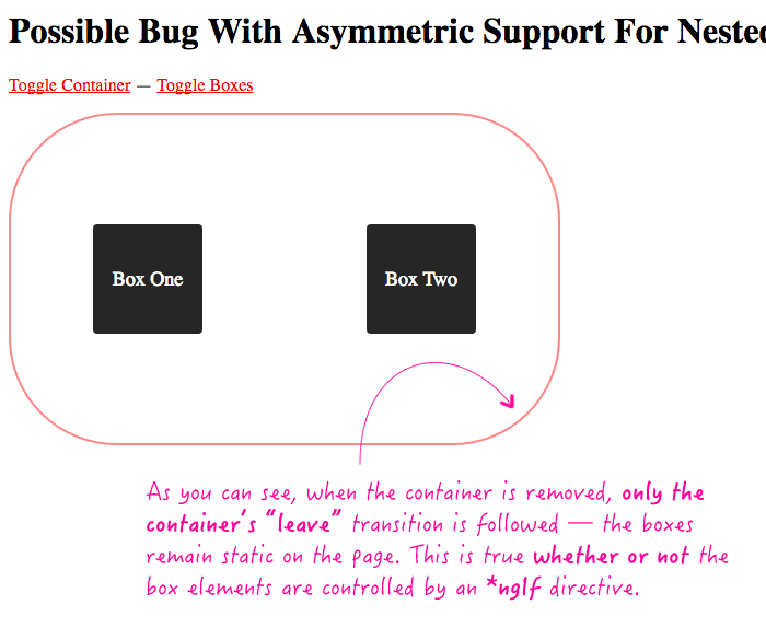 Asymmetric support for enter and leave animations - showing leave animation in Angular 2 RC 6.