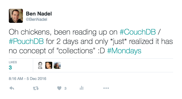 Tweet: PouchDB does not have collections.