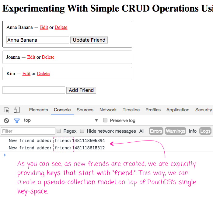 Creating a simple PouchDB CRUD application in Angular 2.1.1.