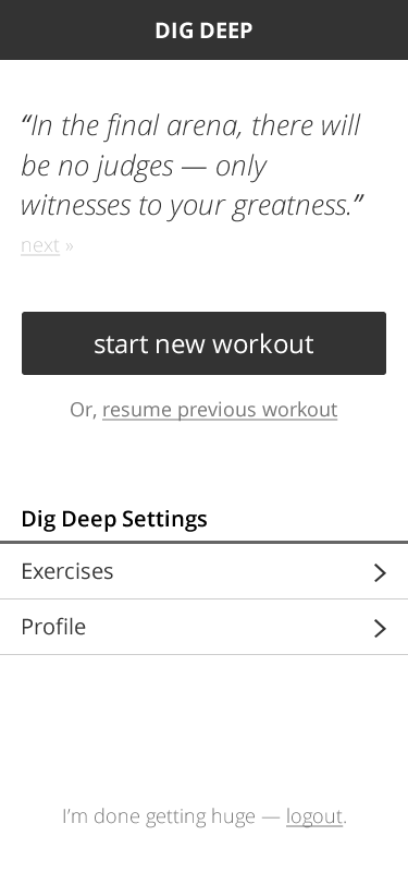 Dig Deep Fitness being built with PouchDB / CouchDB.