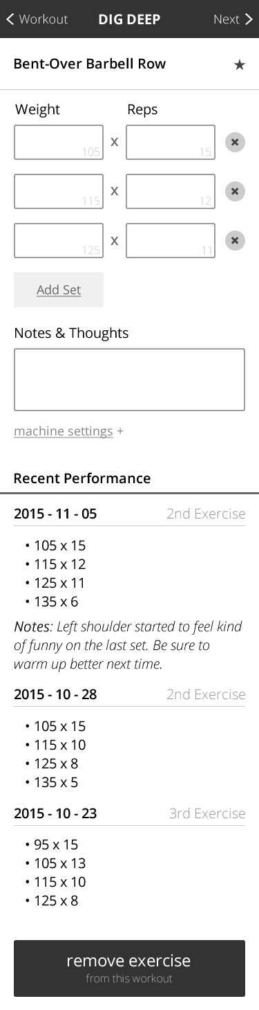 Dig deep fitness - perform exercise screen.