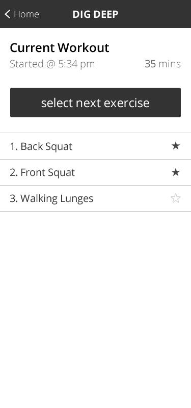 Dig deep fitness - workout screen.