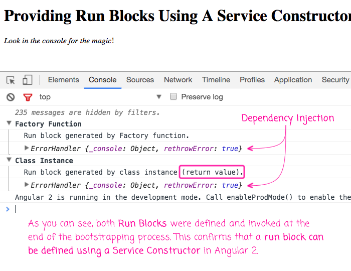 Run blocks defined using service constructors in Angular 2.
