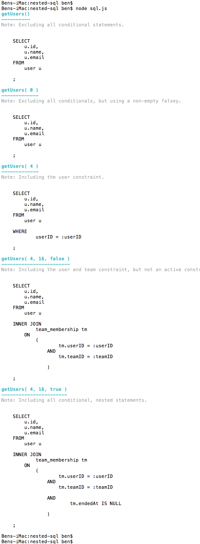 Building conditional sql statements in node.js using nested template literals.