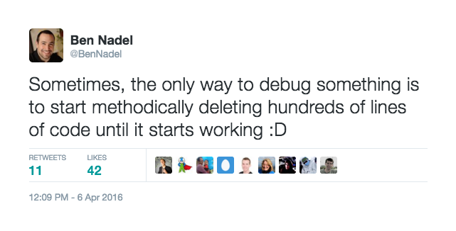 Tweet about deleting hundreds of lines of code in order to find a stack overflow error in ColdFusion.
