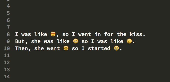 String with emoticon / supplementary characters embedded.