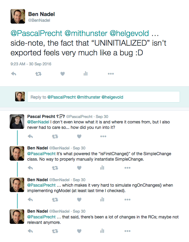 Tweet with Pascal Precht about Angular 2 code and non-export of UNINITIALIZED data.