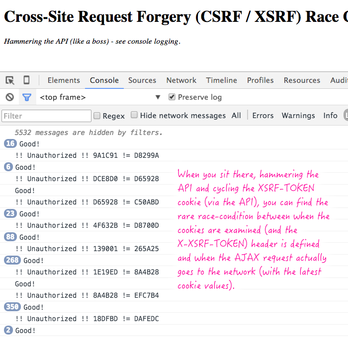 XSRF-TOKEN race condition in AngularJS.