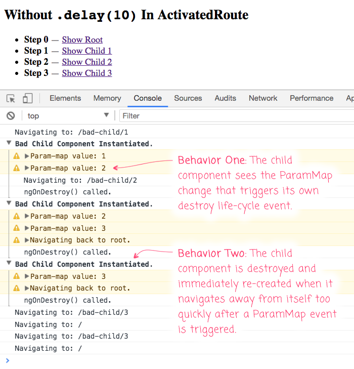 The Router and ActivatedRoute in Angular 4.4.6 have some unwanted behaviors that I can remove with .delay(10).