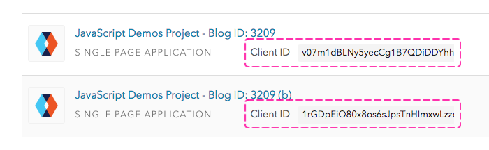 Auth0 clients and client IDs.