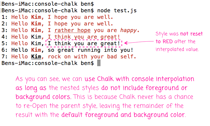 Using chalk with the console's interpolation functionality in Node.js.