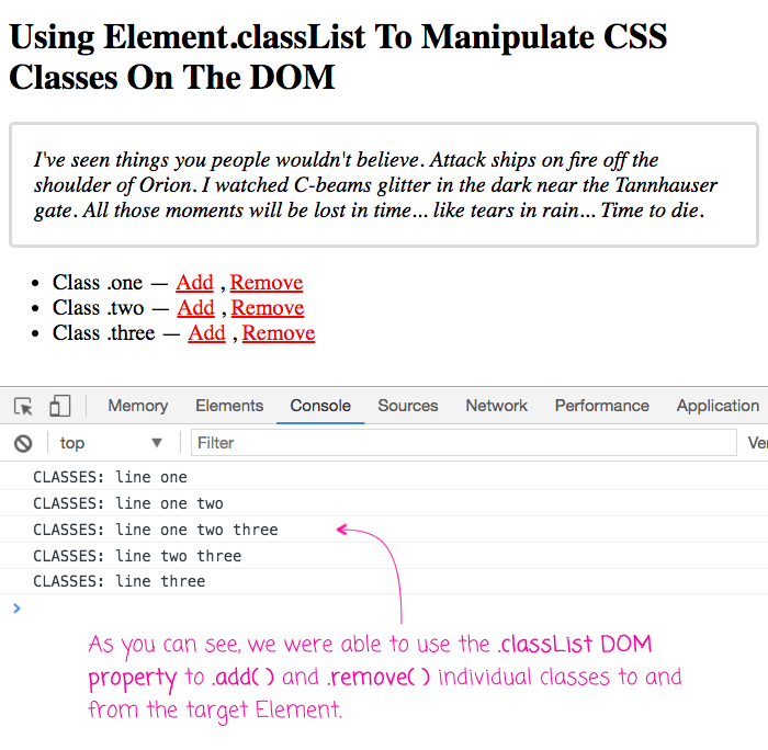 DOM Element .classList property helps manipulate CSS class names.
